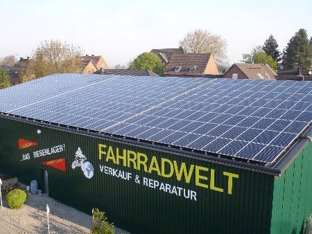 Fahrradwelt Aachen Solar Dach